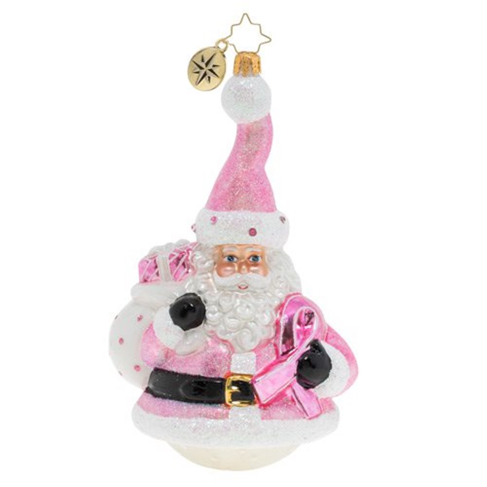 Christopher Radko Glass Ornament - Santa Wears Pink 2019