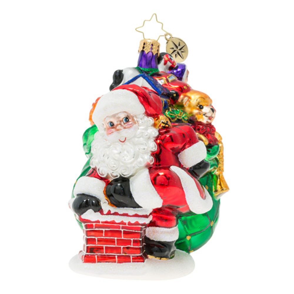 Christopher Radko Glass Ornament - Sneaking Down The Chimney 2019