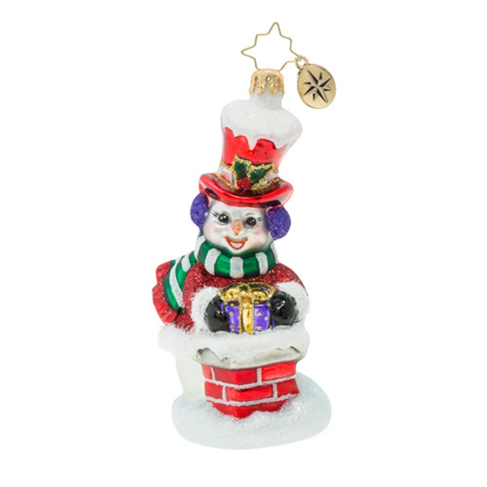 Christopher Radko Glass Ornament - Snowman Gift Delivery 2019