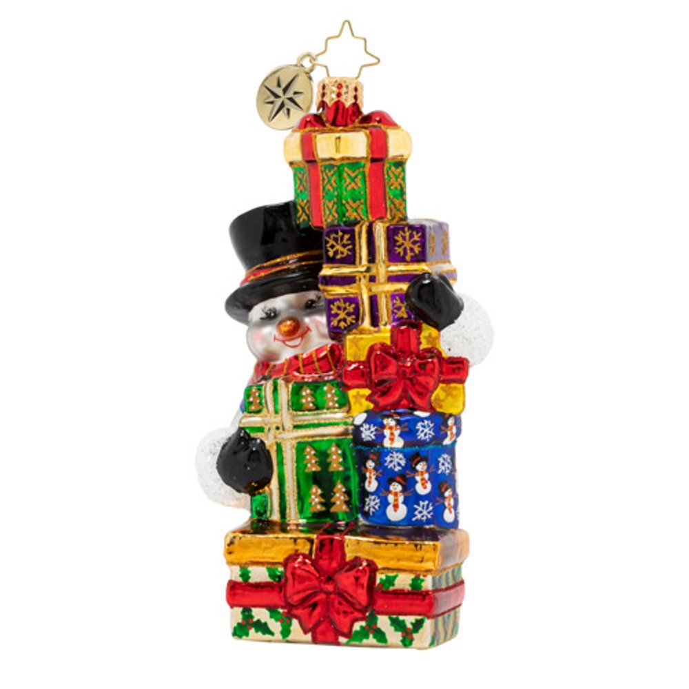 Christopher Radko Glass Ornament - Stacked With Surprises Snowman 2020