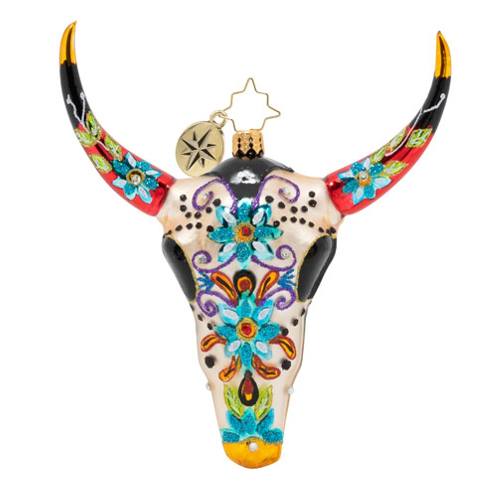 Christopher Radko Glass Ornament - Sugar Skull Bull 2020