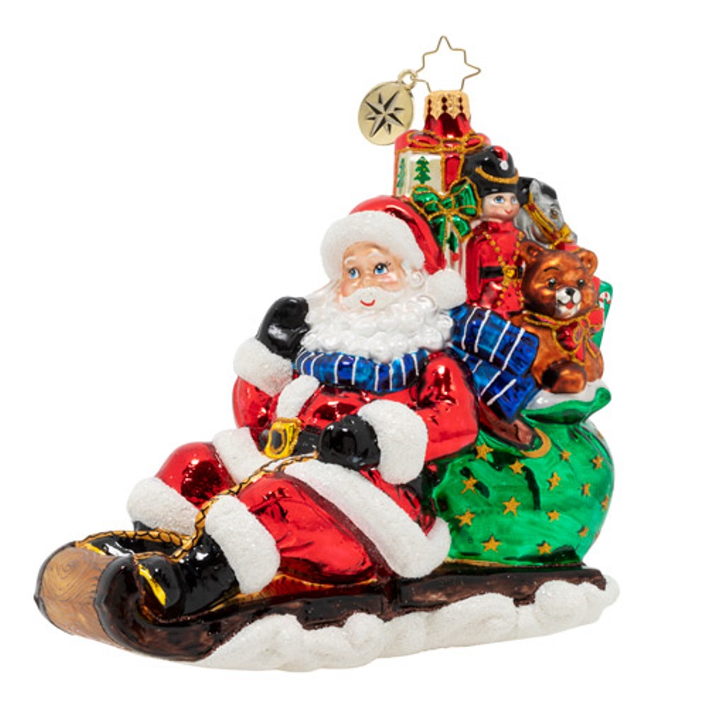Christopher Radko Glass Ornament - Timely Toboggan Delivery - 2020