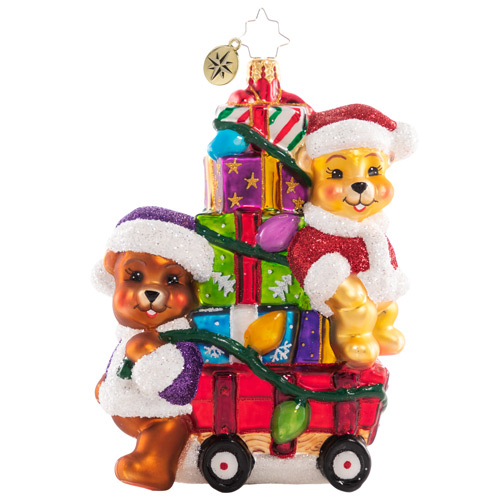 Christopher Radko Glass Ornament - Toting Treasure Teddies 2021