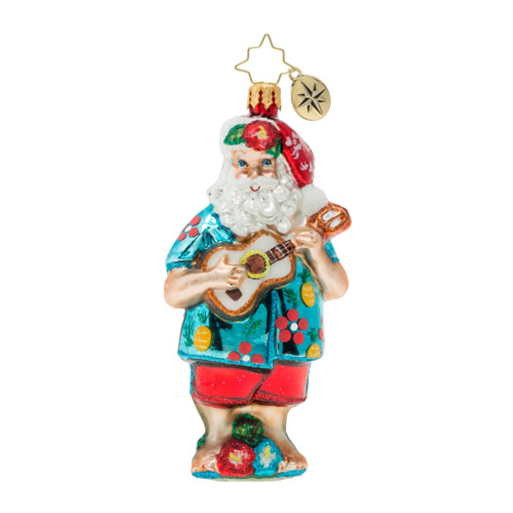 Christopher Radko Glass Ornament - Tropical Ukulele Santa 2019