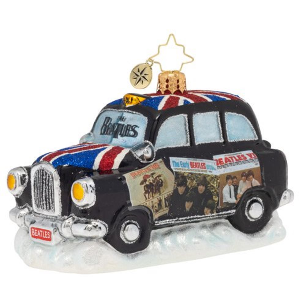 Christopher Radko Glass Ornament - U.S. Beatles Albums London Taxi 2019