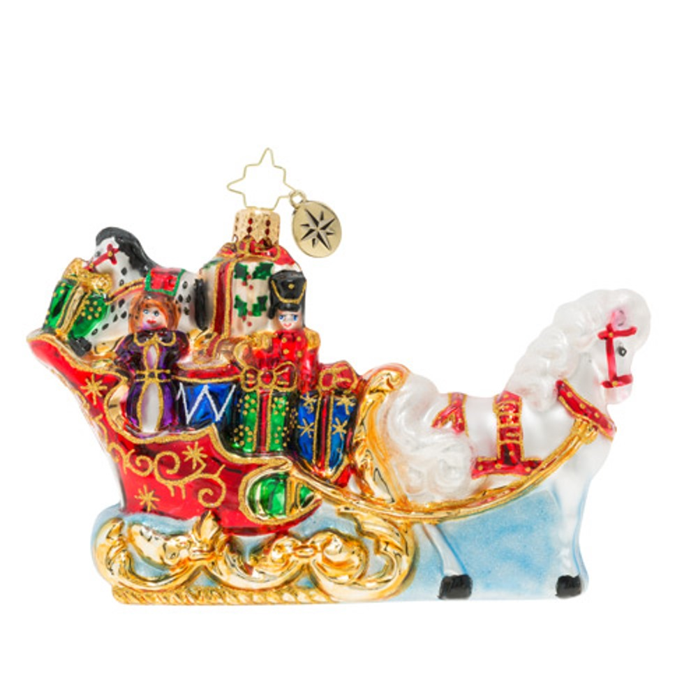 Christopher Radko Glass Ornament - Whoa! Speedy Christmas Sleigh 2019