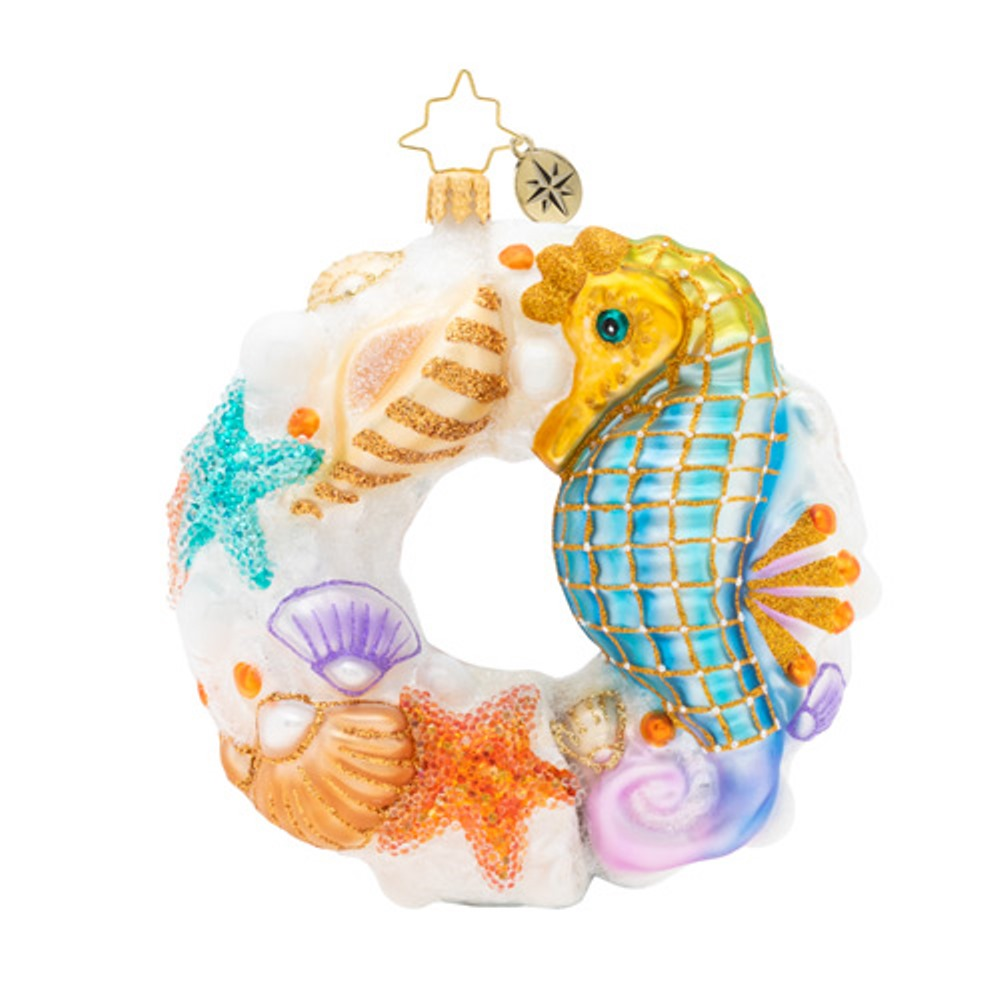 Christopher Radko Glass Ornament - Wondrous Waters Wreath 2019