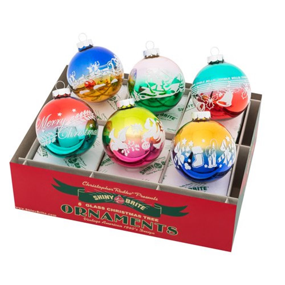 Christopher Radko Shiny Brite - Christmas Confetti Flocked Rounds - 6ct