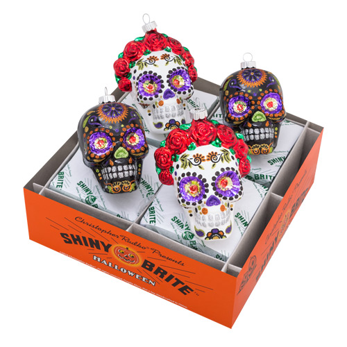 Christopher Radko Shiny Brite - Halloween Bride & Groom Skulls- 4ct