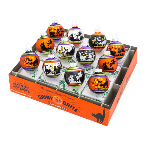 Christopher Radko Shiny Brite - Halloween Signature Flocked Rounds - 12ct