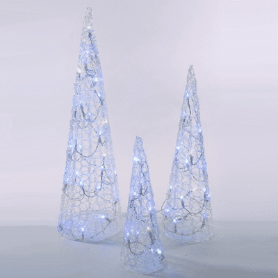Clear Lighted Tree Cones - Remote Control Multicolor - 3pc Set