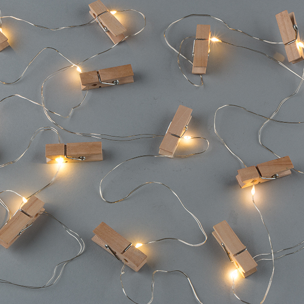 Clothespin Lights - Battery/Warm White LED - Timer - 20 Lights