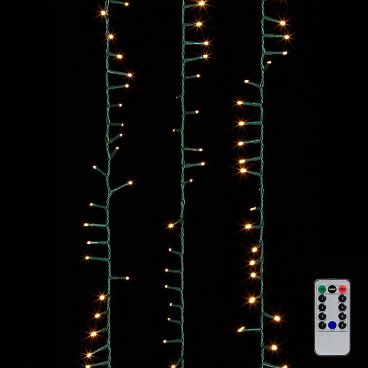 Cluster Garland Lights - 500 Warm White LED Lights - Green Wire - 36.5ft