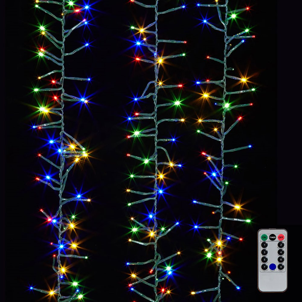 Cluster Garland Lights - 600 Multicolor LED Lights - Green Wire - 19ft