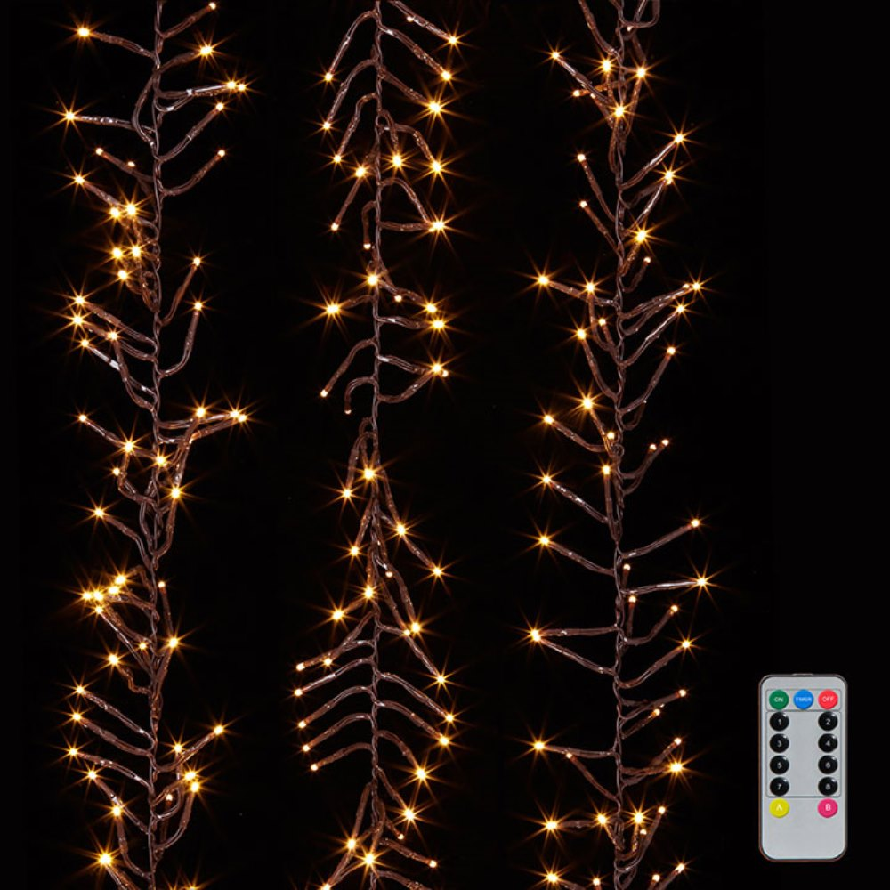 Cluster Garland Lights - 600 Warm White LED Lights - Brown Wire - 19ft