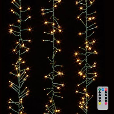 Cluster Garland Lights - 600 Warm White LED Lights - Green Wire - 19ft