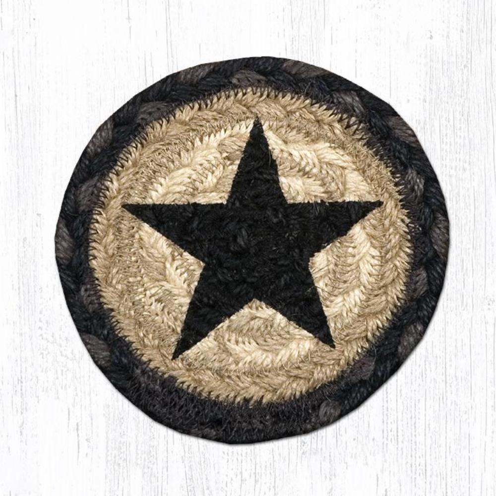 Earth Rug - Braided Round Coaster - Black Star - 5in