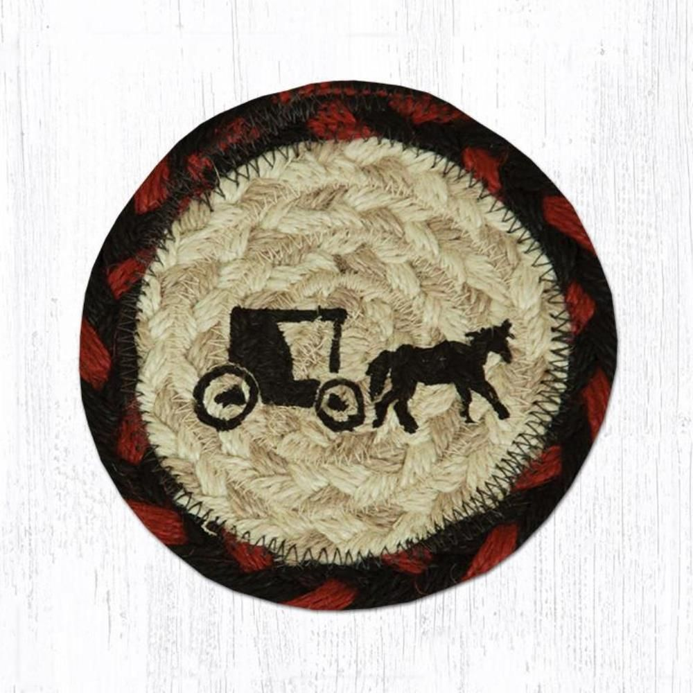 Earth Rug - Braided Round Coaster - Amish Buggy - 5in