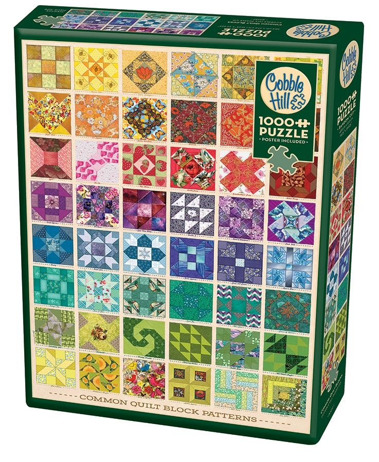 Cobble Hill Jigsaw Puzzle - 1000pcs - Common Quilt Blocks