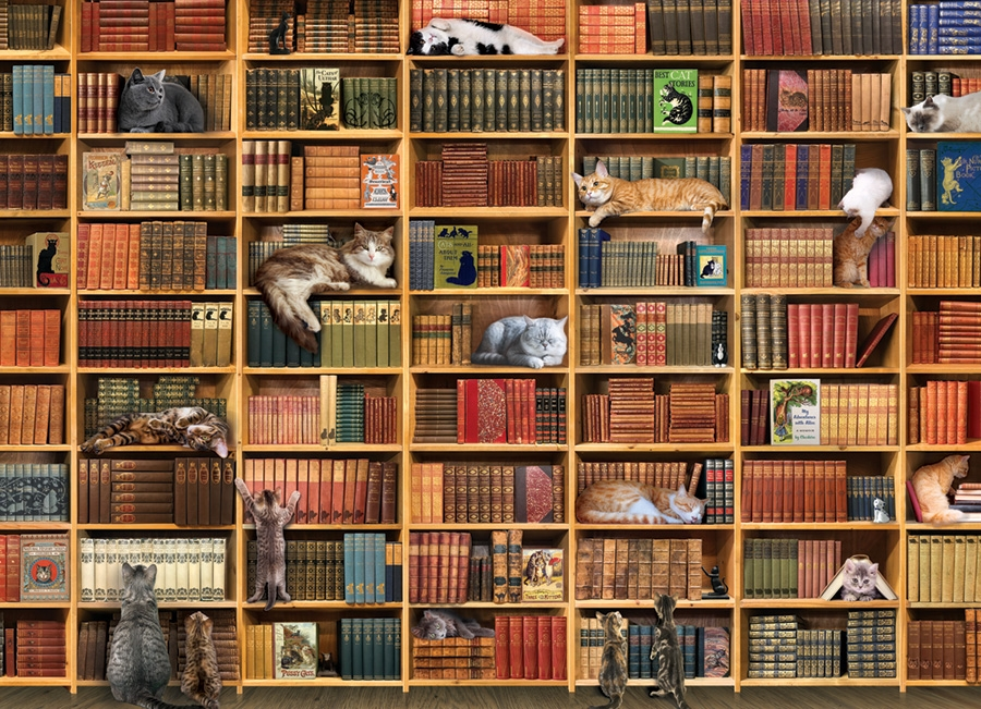 Cobble Hill Jigsaw Puzzle - 1000pcs - The Cat Library