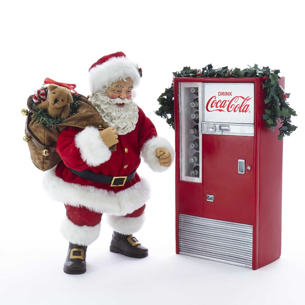 Collectible Santa Figure - Coca-Cola® Machine - Battery Lit - 10.5in