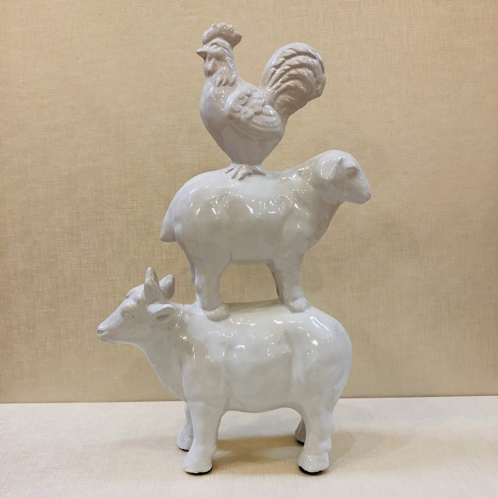 Cow/Sheep/Rooster Statue - Glazed Ceramic - White - 14in