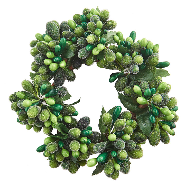 Dark Green/Light Green Frost Candle Ring - 2in