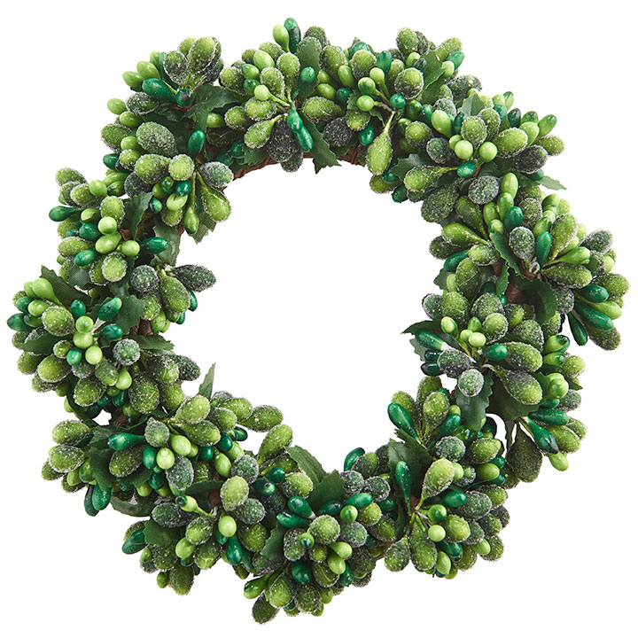Dark Green/Light Green Frost Candle Ring - 3.75in