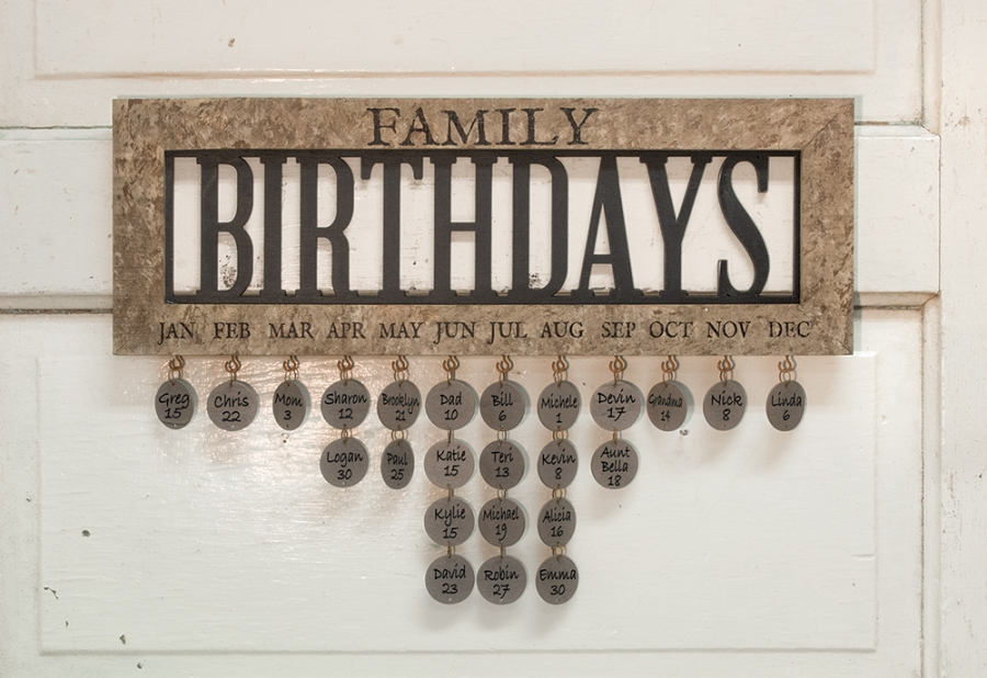 Decorative Birthday Calendar - Framed Family Birthday Calender - 18in