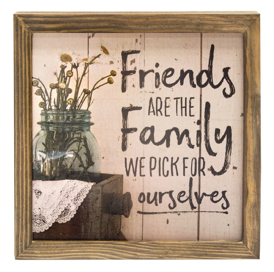 Decorative Box Sign - Friends are Family - 10in