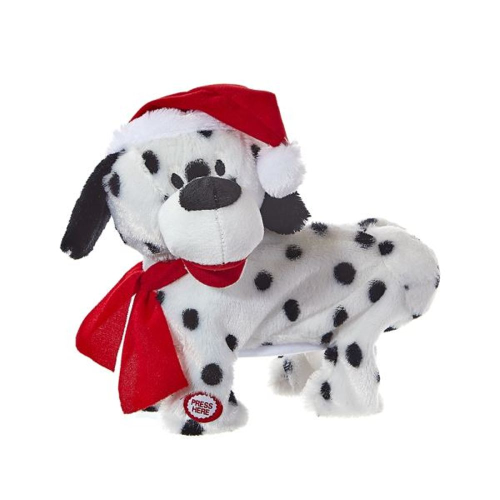 Decorative Figure - Animated Black and White Christmas Dog - 9in