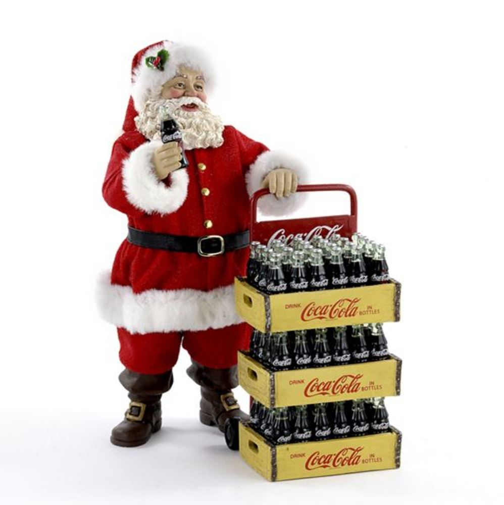 Decorative Figurine - Coca-Cola Santa With Delivery Cart - 10.5in