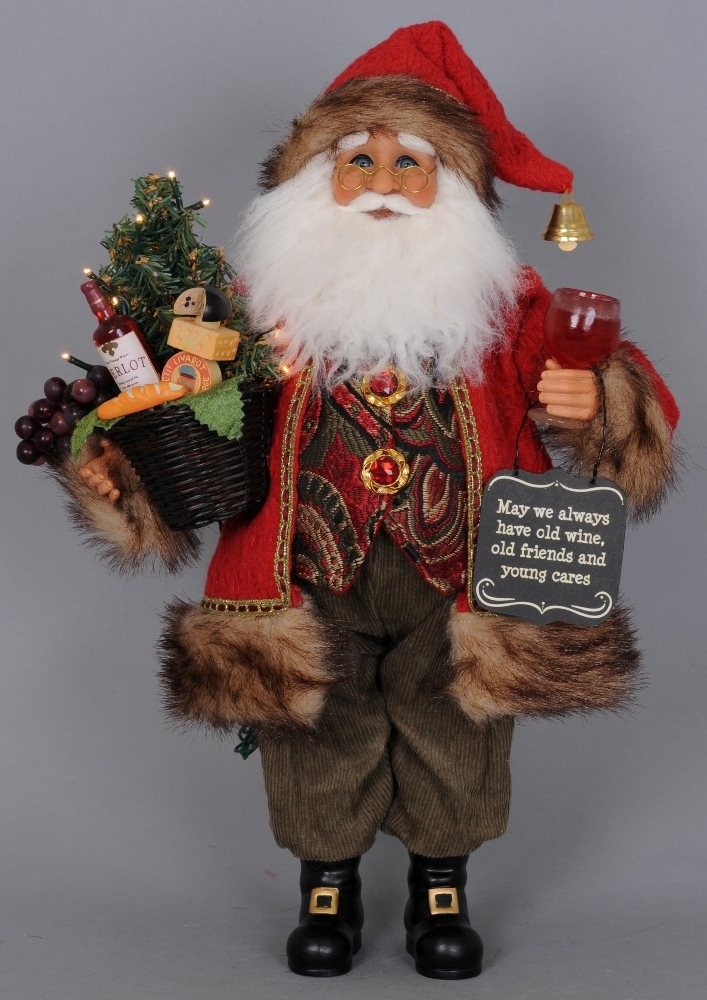Karen Didion Santa - 17in - Lighted Red Wine Santa