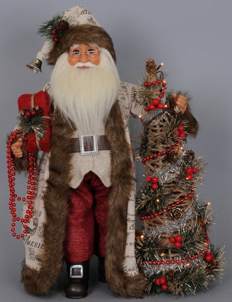 Karen Didion Santa - 16in - Lighted Woodland Elegance Santa