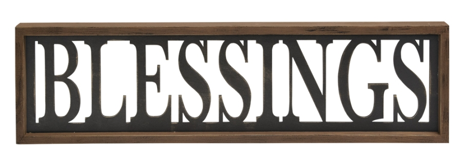 Decorative Framed Sign - Blessings - 23.5in