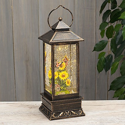 Decorative Lantern Water Globe - Bufferfly Sunflower - 11in