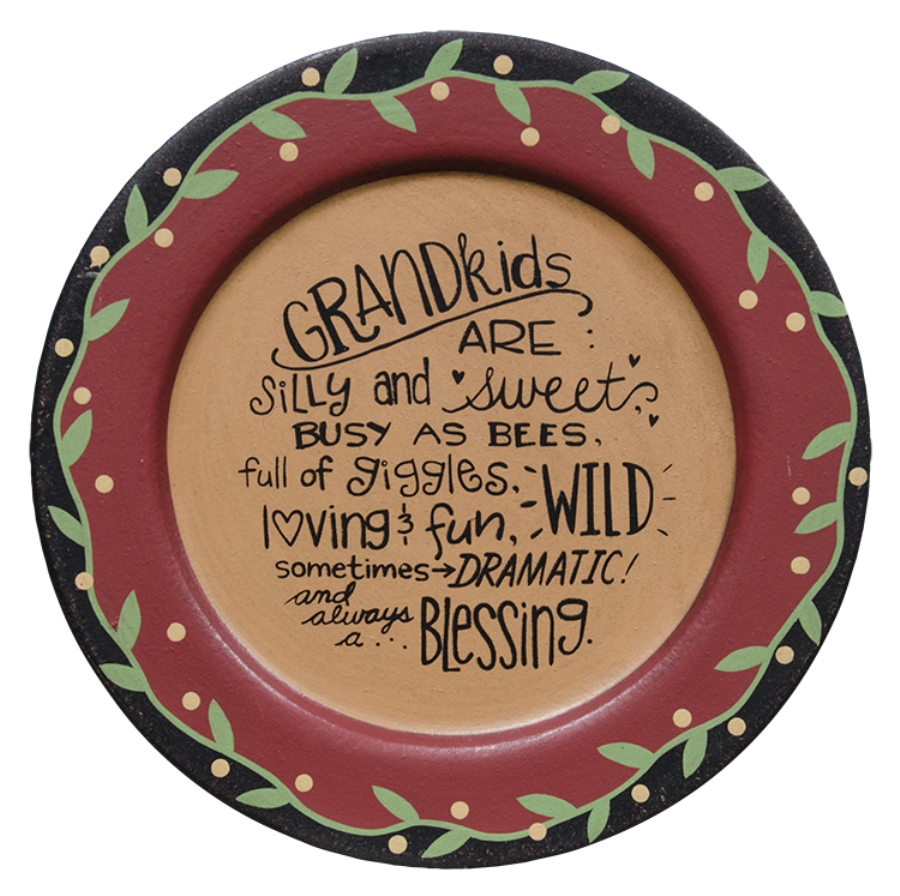 Decorative Wooden Plate - Grandkids - 11.25in