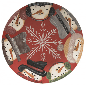 Decorative Wooden Plate - Snowmen Border - 11.5in