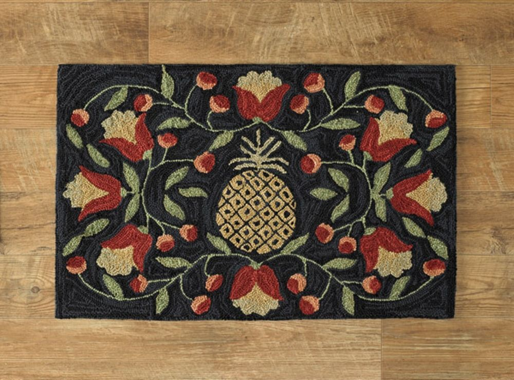 Poly Hooked Rug - Pineapple - 24in x 36in