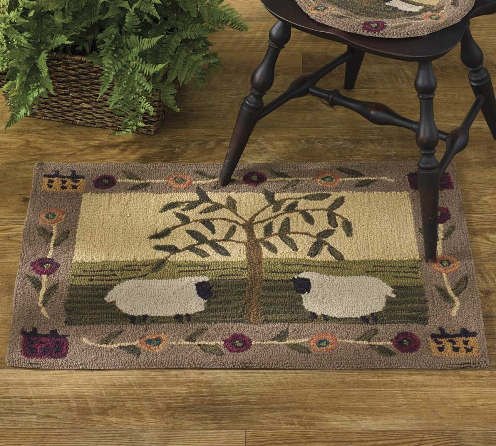 Park Designs Hooked Rug - Willow and Sheep - 24in x 36in
