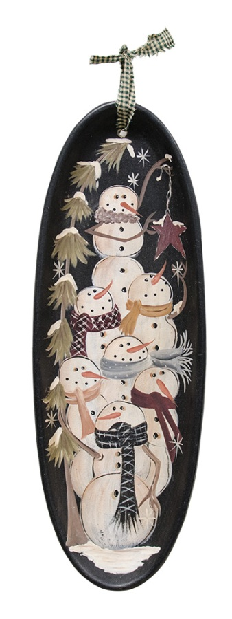 Hanging Decorative Tray - Stacked Snowmen - 15in