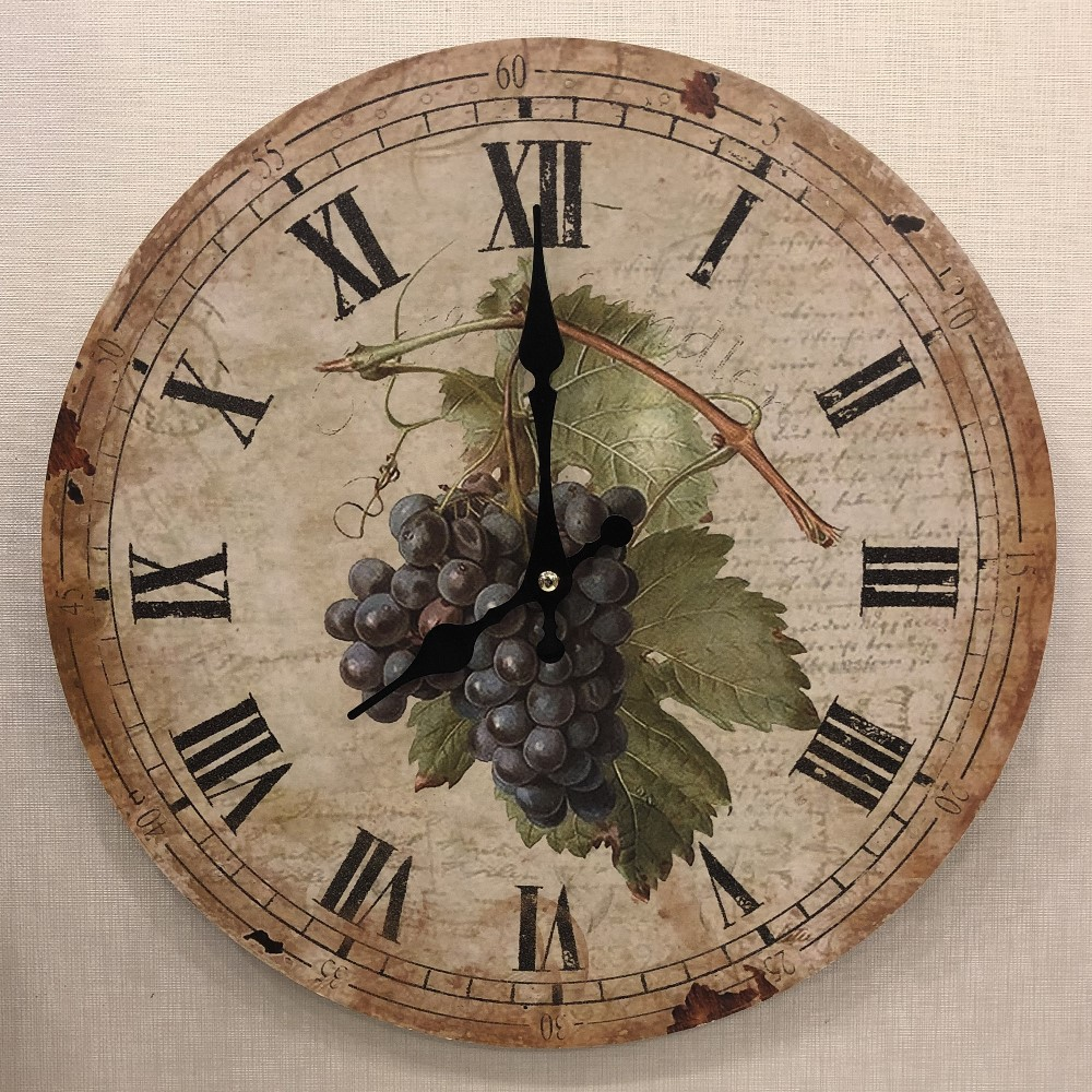 Decorative Wall Clock - Grapes - 13.25in