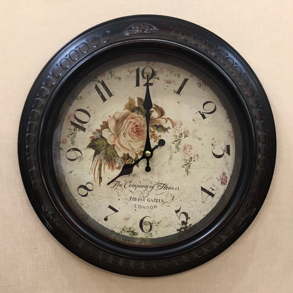 Decorative Wall Clock - Metal - Floral - 13.5in