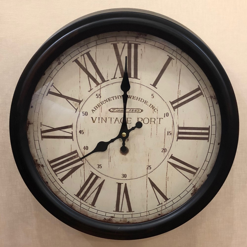 Decorative Wall Clock - Metal - Vintage Port - 15in