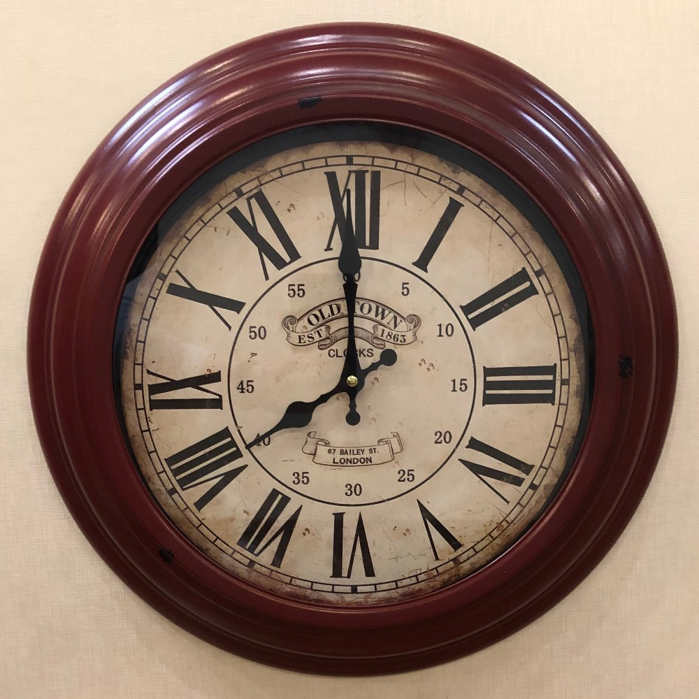 Decorative Wall Clock - Red Metal - Old Town - 17in