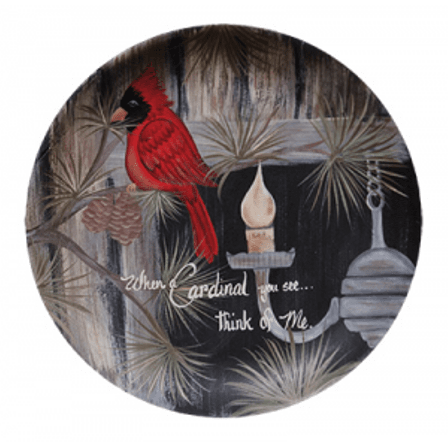 Decorative Wooden Plate - Cardinal You See - 11in