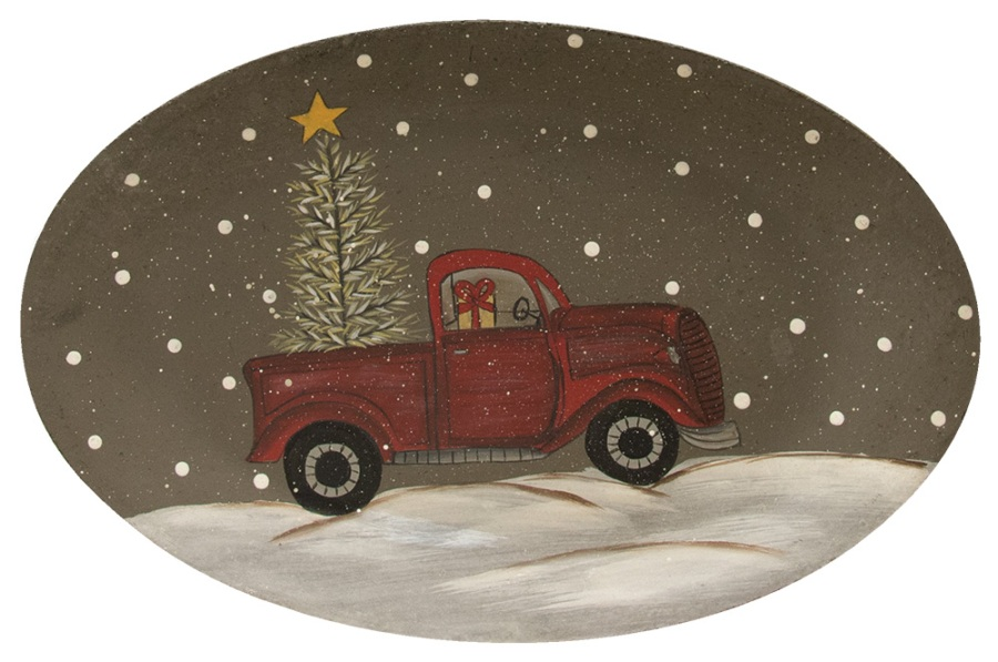 Decorative Wooden Plate - Winter Truck - 11in