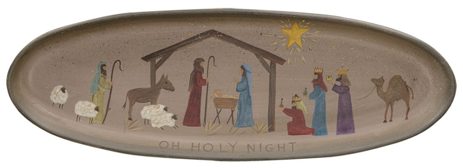 Decorative Wooden Tray - Oh Holy Night - 20.5in
