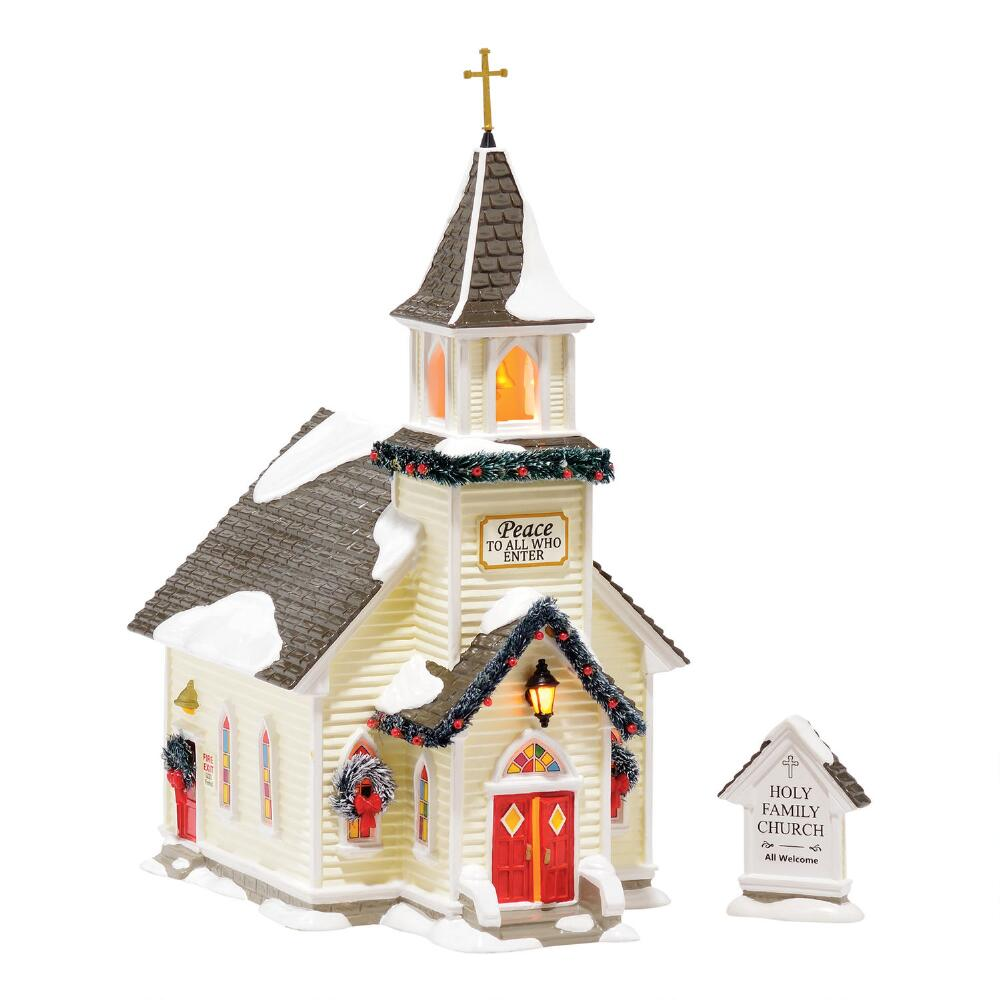Department 56 Snow Village - Holy Family Church Set of 2
