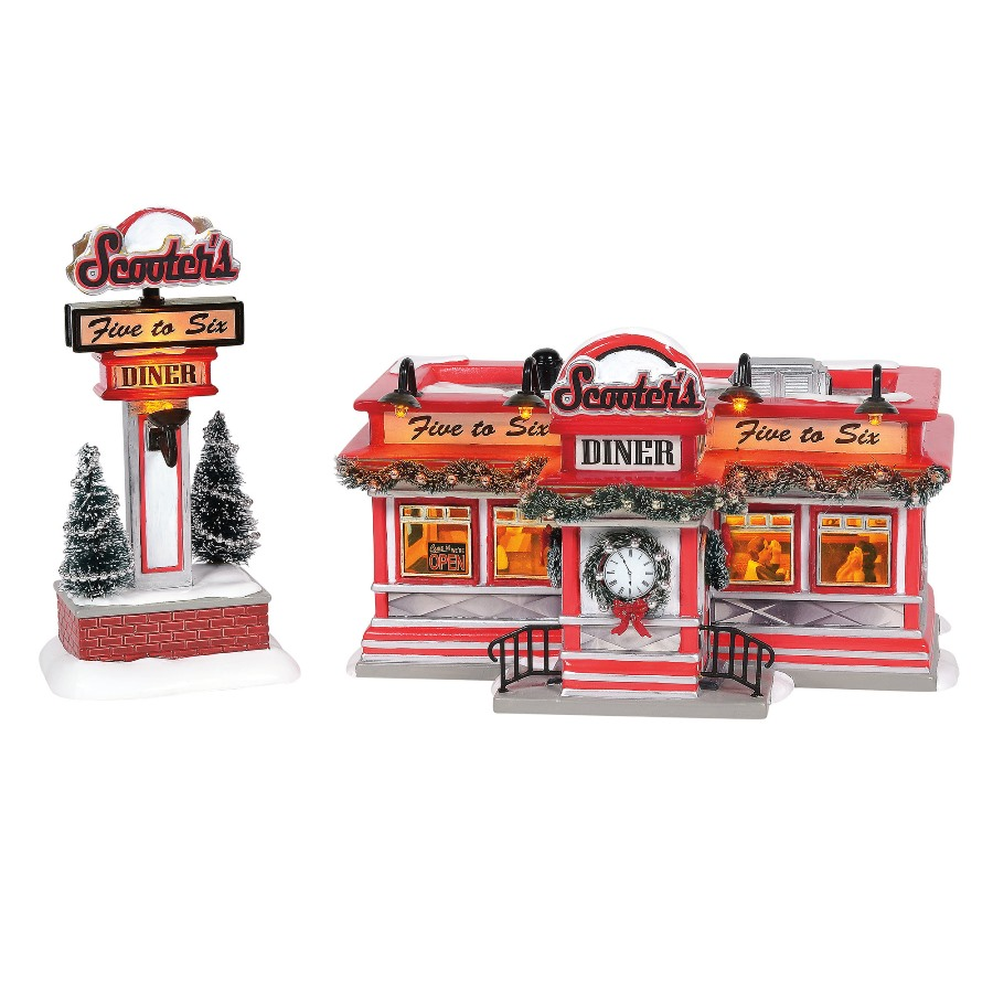 Department 56 Snow Village - Scooters Diner Red & White 2020